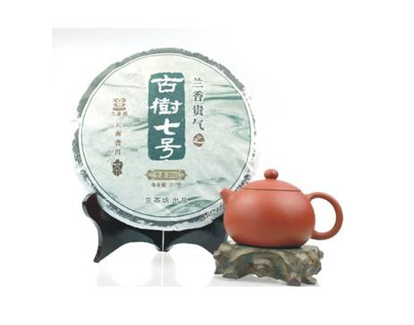兰茶坊普洱茶古树七号生饼357克2012年