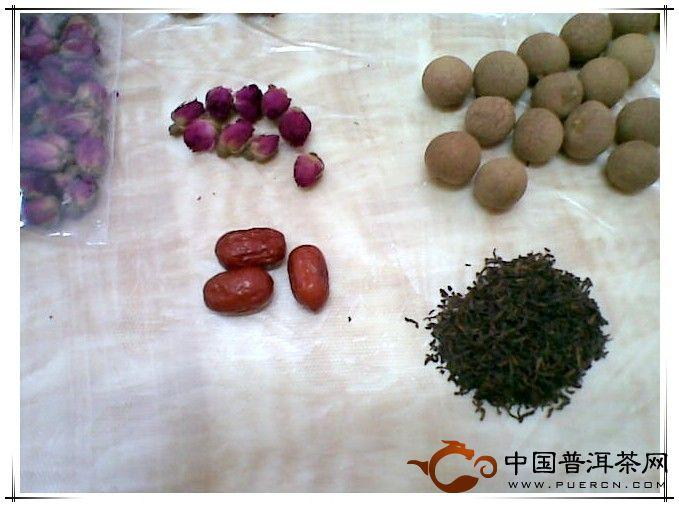 红枣玫瑰桂圆普洱茶更养颜