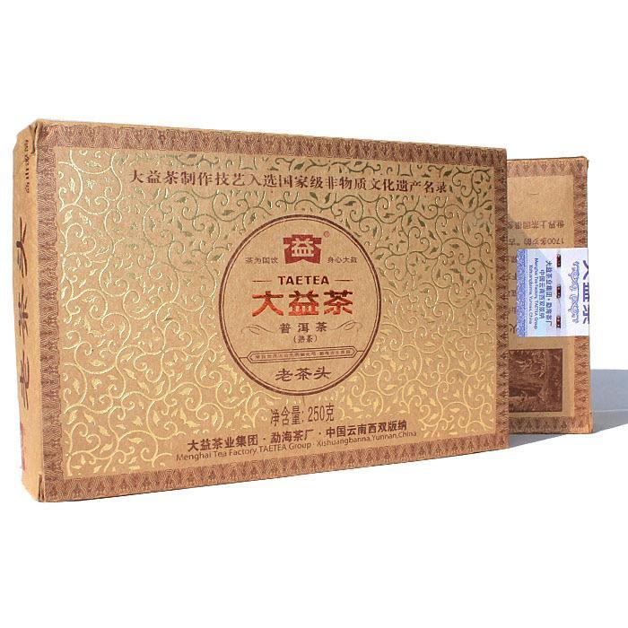 大益普洱茶老茶头熟砖250克201批2012年勐海茶厂