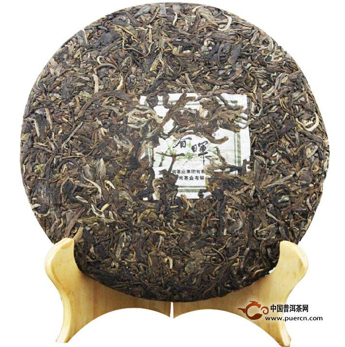 2011年龙润春晖生茶357克茶饼正面