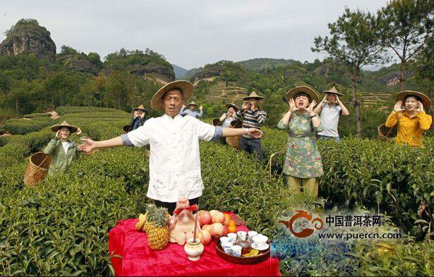 """武夷山茶农按传统习俗在茶园举行""""喊山""""仪式"""