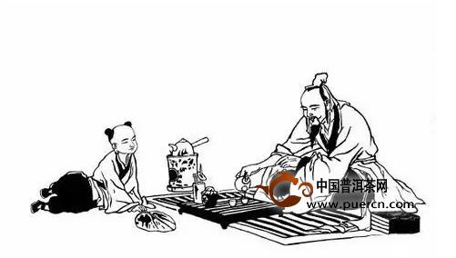 古代人喝茶的手绘画
