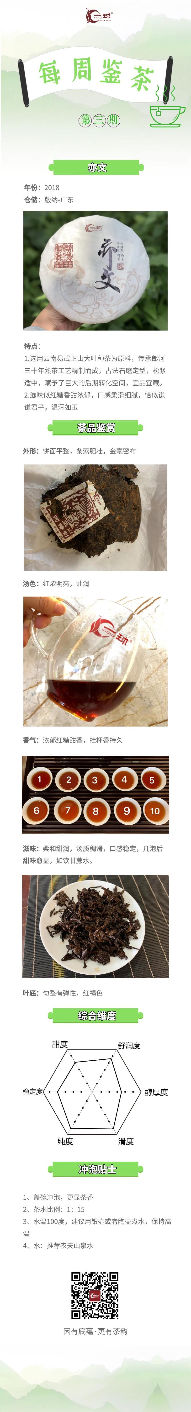 一球茶业每周鉴茶 :亦文