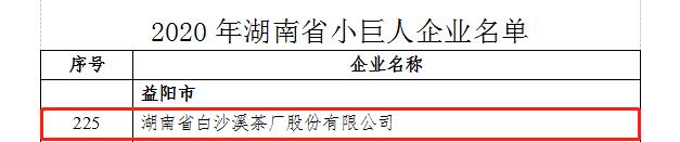 """白沙溪茶厂被认定为2020年湖南省""""小巨人""""企业"""